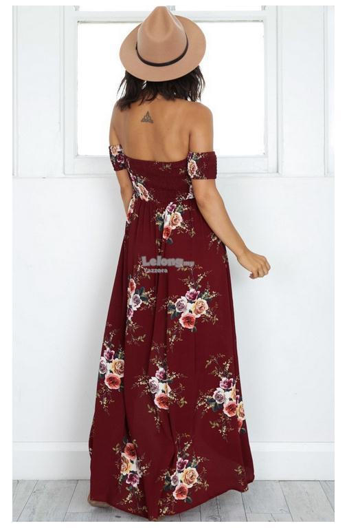 d8bd0b937f0f Floral Printed Long Off Shoulder Beach Dress ( 3 colors ) (T)