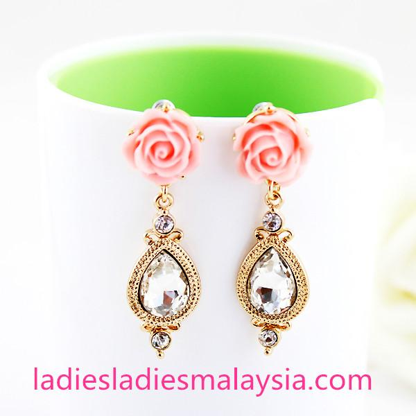 Flower Water Drop Crystal Earrings(Nickel Free)