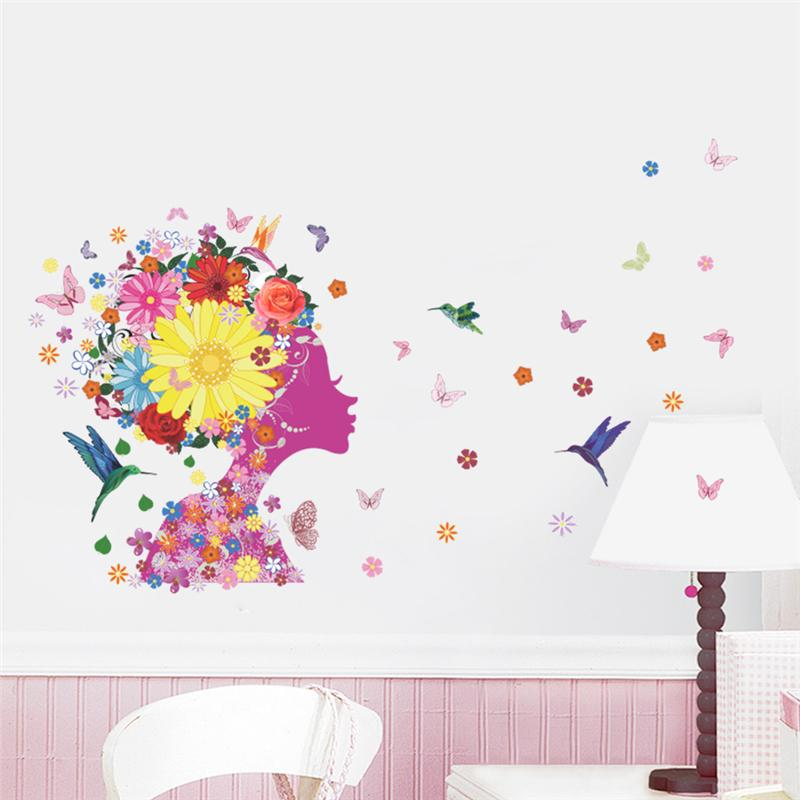 Flowers Fairy Butterfly Wall Decals Home Decorative Stickers Diy Adesi