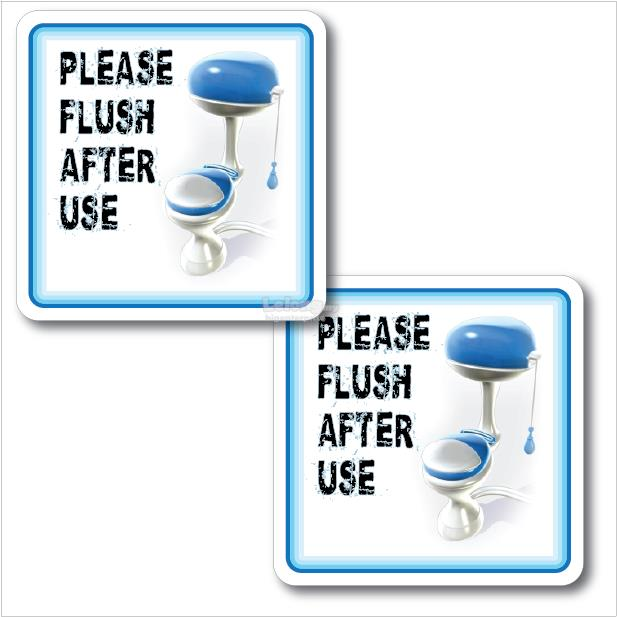 PLEASE FLUSH AFTER USE ACRYLIC SIGN 2'S 110x110mm