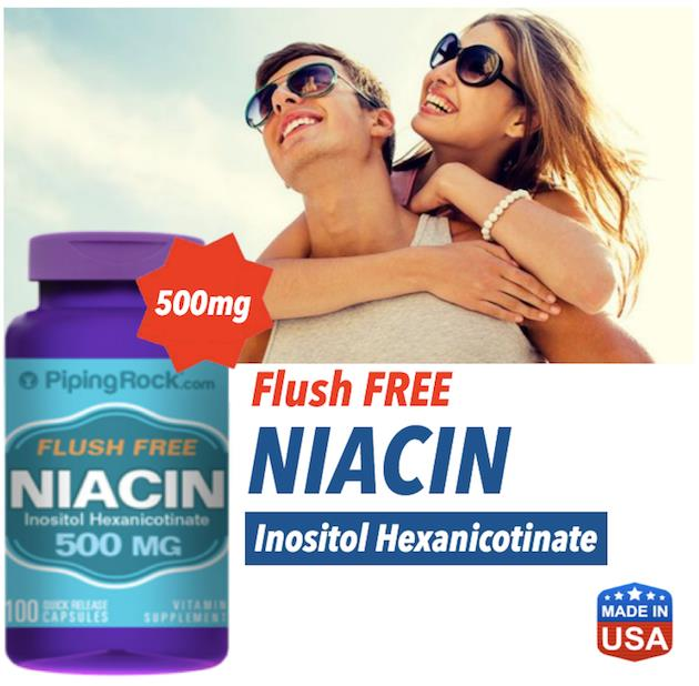 Flush Free Niacin 500mg, 100 Caps (Cholesterol, Joints, Brain Health)