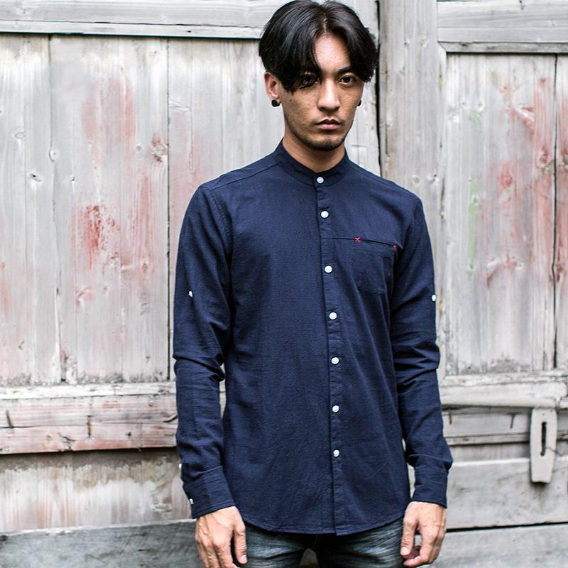(FM003) Mandarin Collar Cotton Linen Long Sleeve Shirt