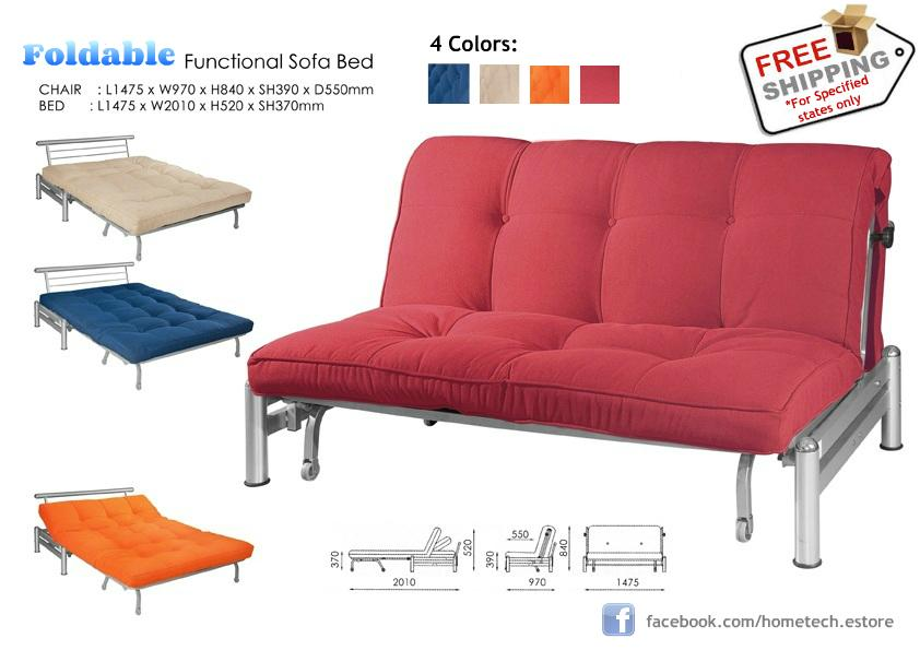 Fold Able Fabric Sofa Bed Queen Twin Size Free Delivery