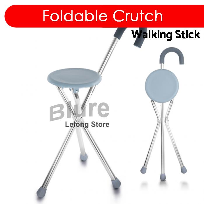 Marvelous Foldable Crutch Cane Walking Stick Seat Stool Chair Round Pabps2019 Chair Design Images Pabps2019Com