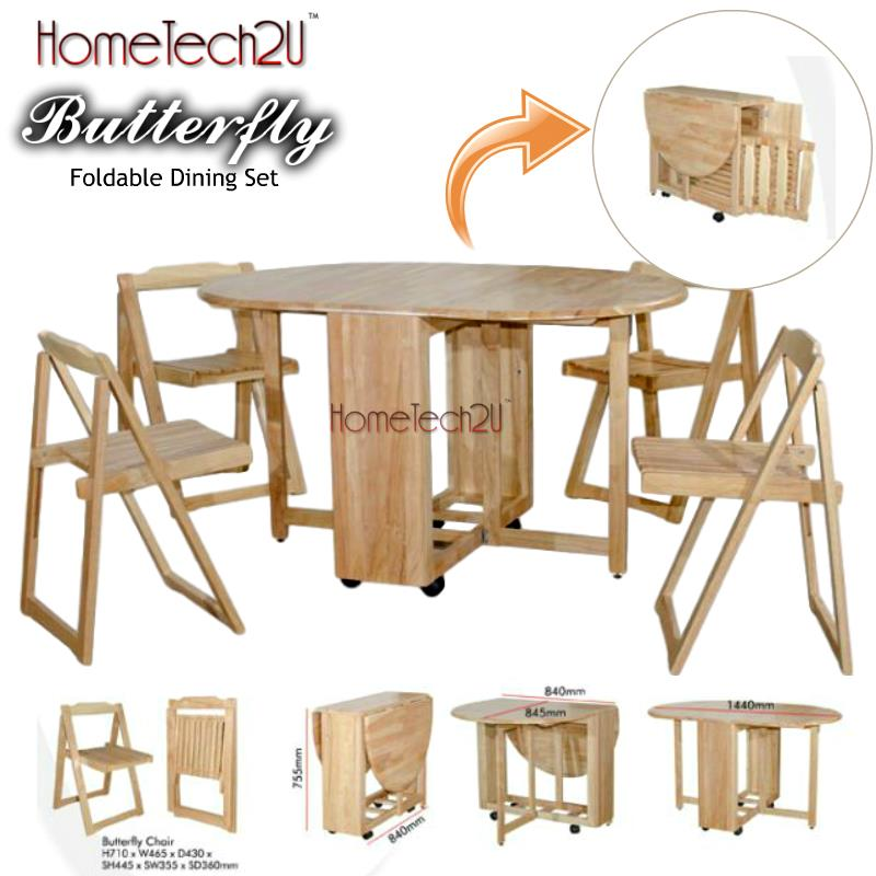 Foldable Dining Table And 4 Folding Chairs Dining Set(*FREE SHIPPING)