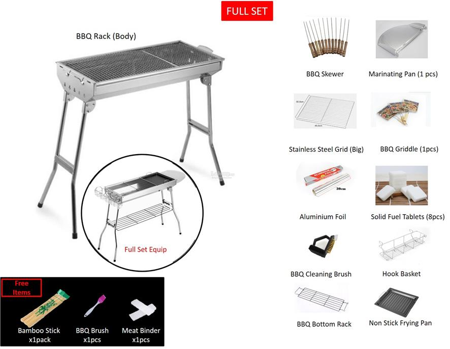 Foldable Stainless Steel Bbq Rack And Accessories Full Set Advance