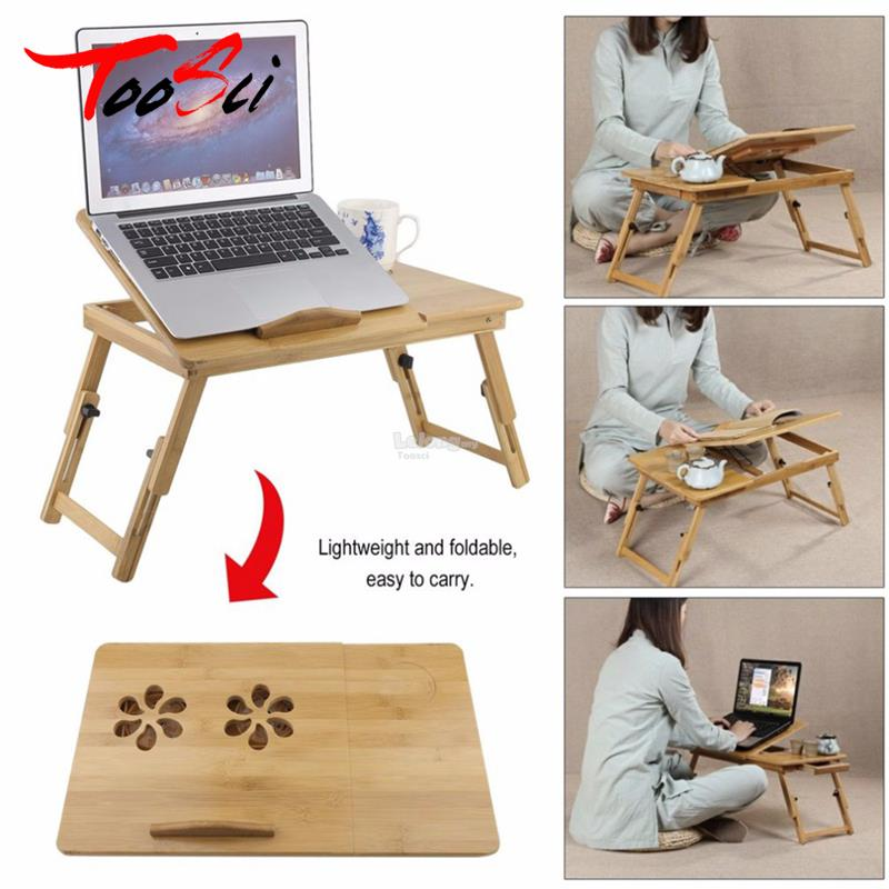 Folding Bamboo Laptop Table Sofa Bed Office Stand Desk Computer