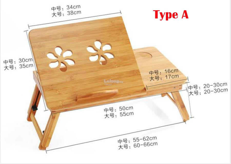 Folding Bamboo Laptop Table Sofa Bed Office Laptop Stand Desk Computer