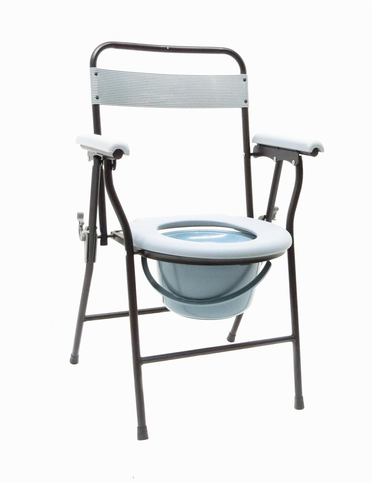 Folding commode chair with backrest and pot kerusi tandas toilet aid