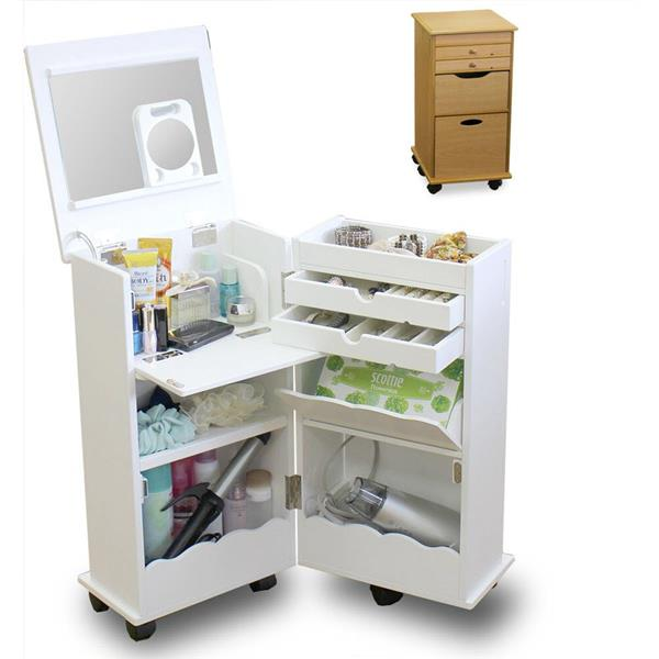 Makeup organizer white wood