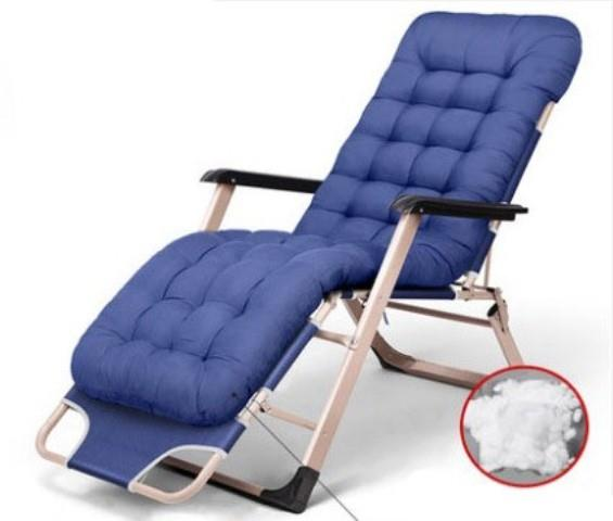 Folding Lounge Chair Simple Home Cushion Office Blue Furniture Seat