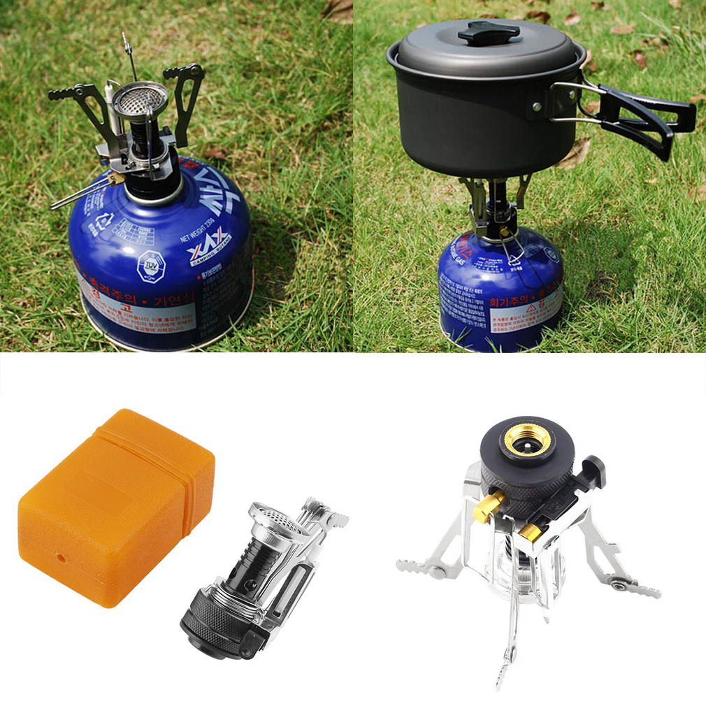 Folding Mini Camping Survival Cooking Furnace Stove Gas Burner Outdoor