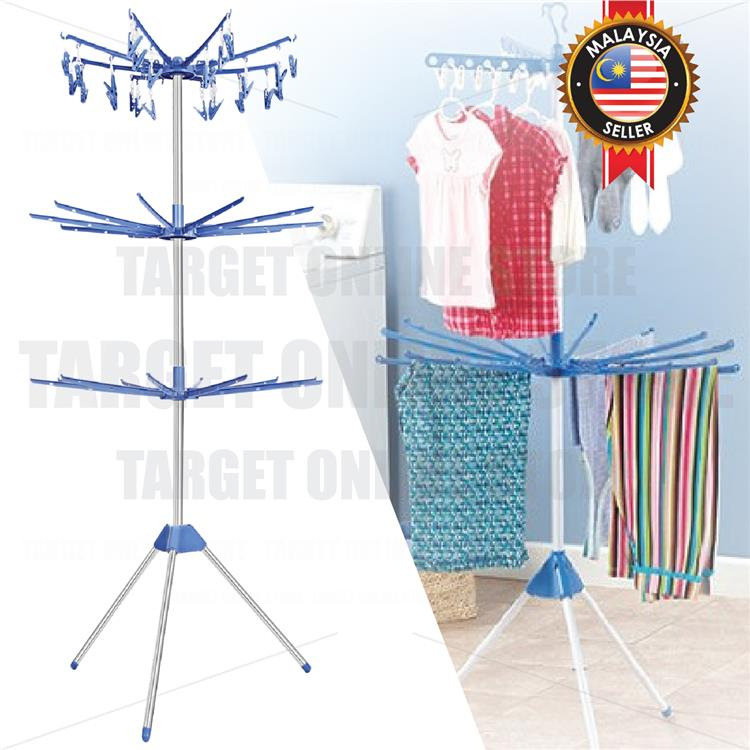 Folding Portable Laundry Stand Drying Rack 3 Tier Tripod Clothes Racks