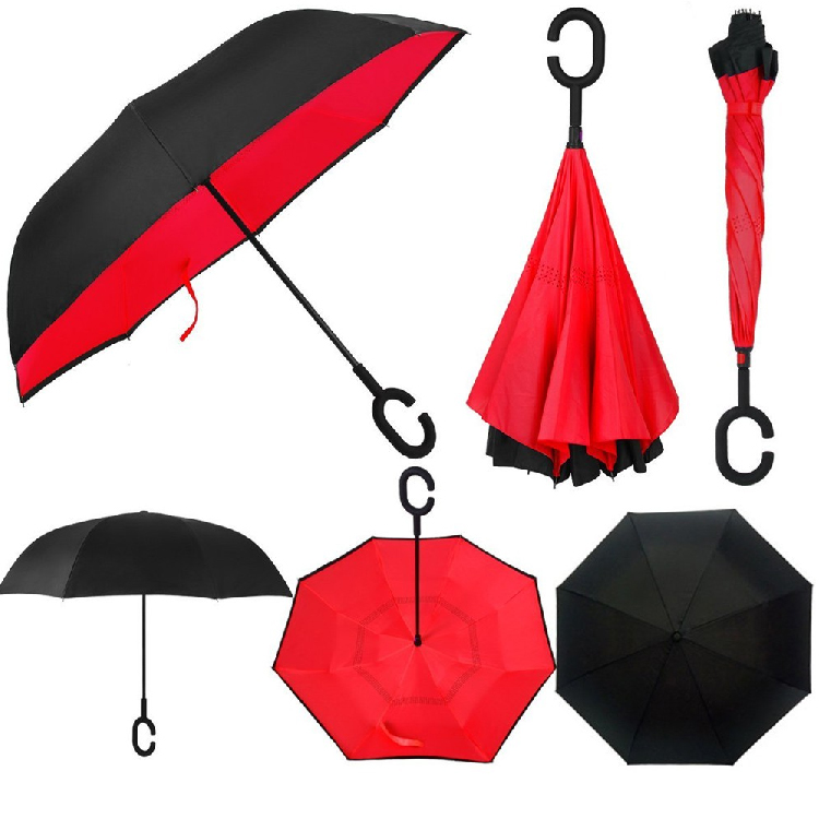 Folding Reverse Inverted Umbrella C Hook Handle Self Stand