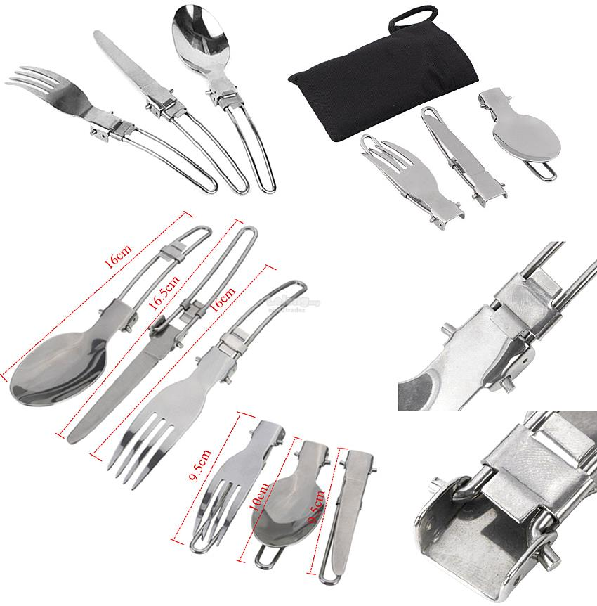 Folding Stainless Steel Fork, Spoon and Knife Tableware Set