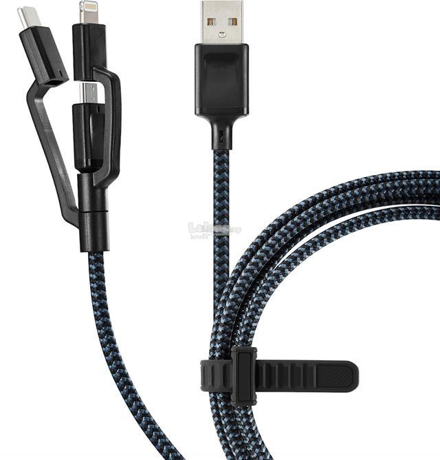 Fonemax Premium Nylon Power Universal 3 in 1 Cable 1.5m