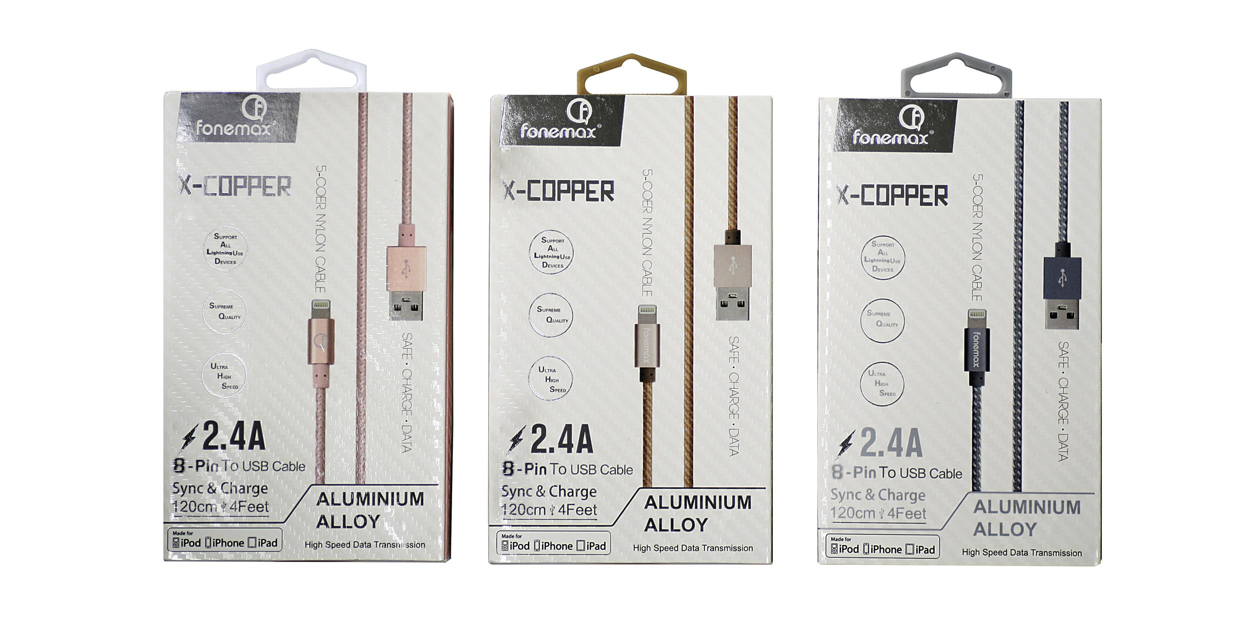FONEMAX X-Copper iphone 2.4AFast Charging Data Cable