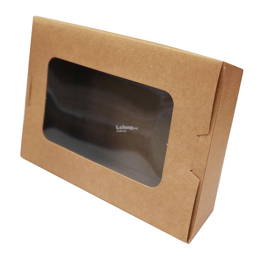 Food Grade Brown Kraft Paper Lunch Box with Window 500ML (20pcs)