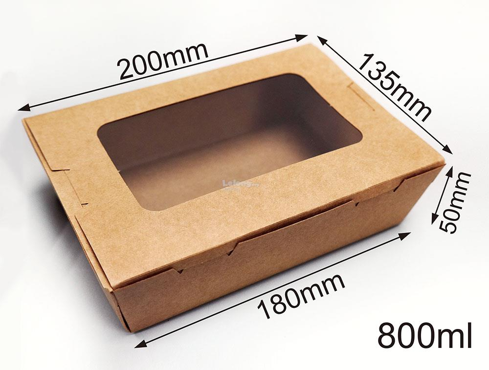 Food Grade Brown Kraft Paper Lunch Box with Window 800ML (20pcs)