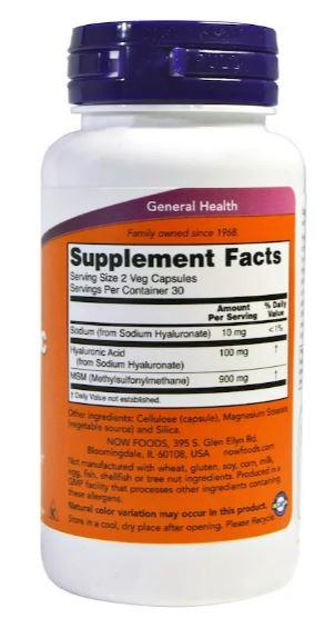 Now Foods, Hyaluronic Acid, 50 mg, Joint Pain (60 Vcaps)