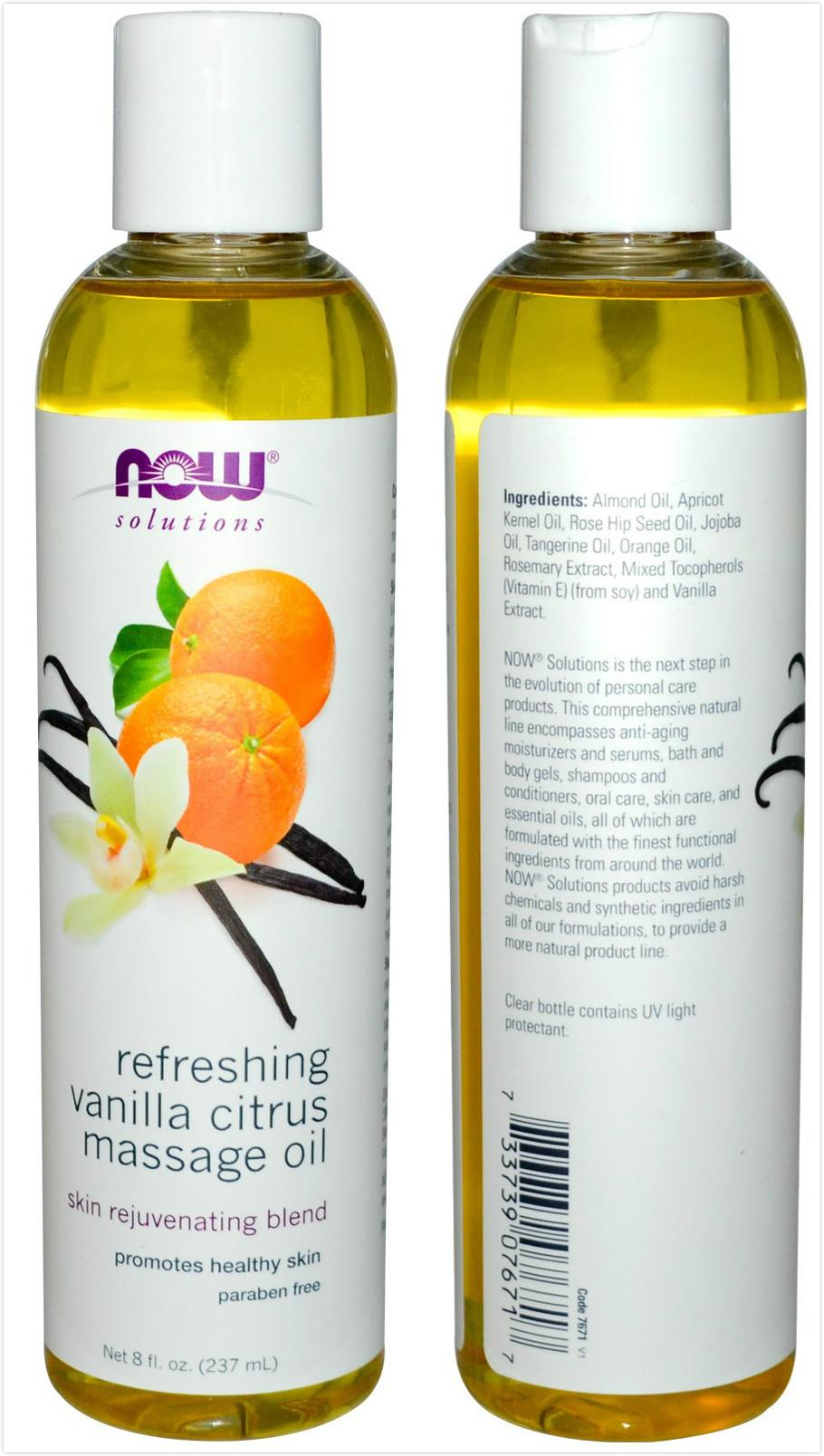 Now Foods, Refreshing Vanilla Citrus Massage Oil (237 ml)