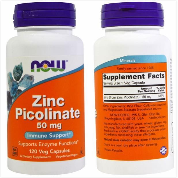 Now Foods, Zinc Picolinate, 50 mg, Support Enzyme Function (120 Vcaps)