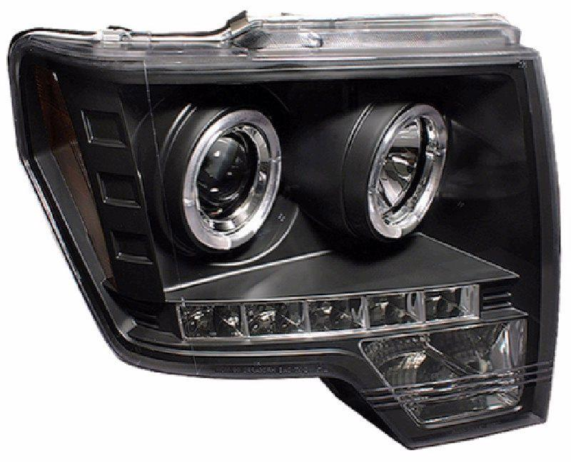 Ford F150 08-13 LED Ring Projector Head Lamp DRL R8