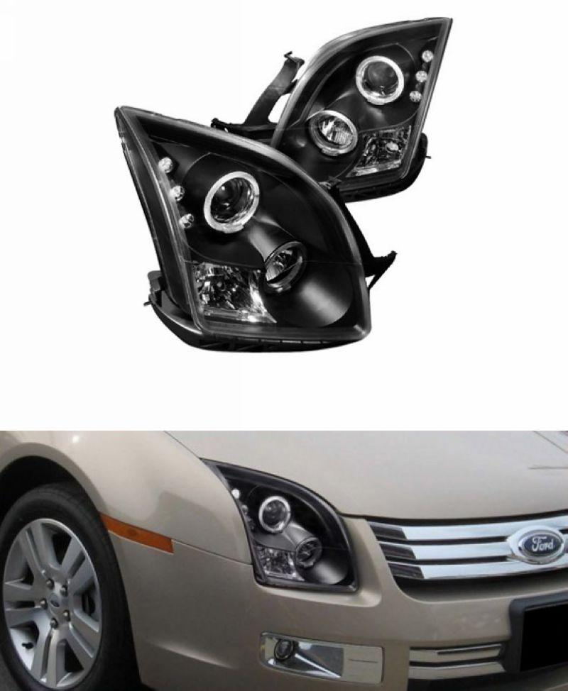 Ford Fusion 06-09 LED Ring Projector Head Lamp Black/Chrome 1-pair