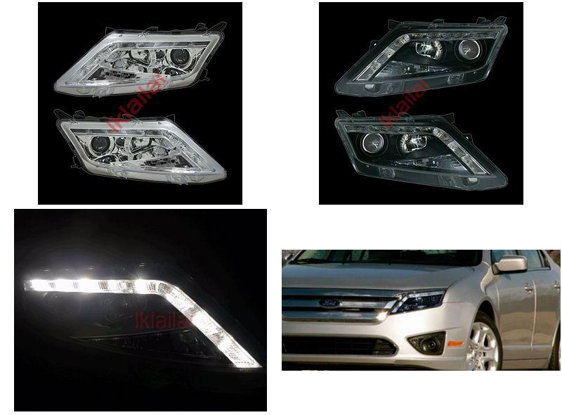 Ford Fusion 10-12 LED DRL R8 Projector Head Lamp 1-pair