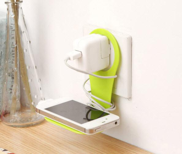 Fordable Wall Charger Adapter Holder Hanger Hanging Mobile Phone