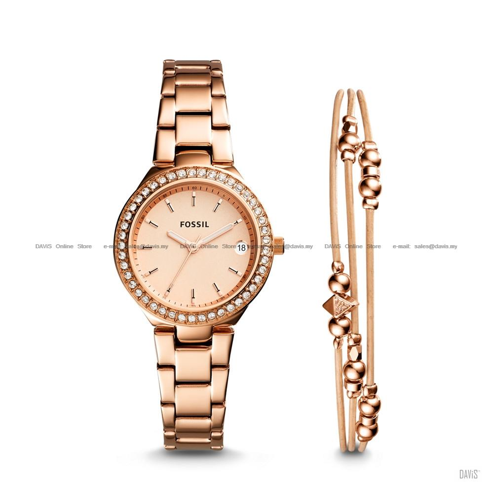 Chanel Jam Tangan Fashion Wanita Stainless Steel Ring Leather Strap Fossil Es3862 Georgia Gray Watch Rose Gold Coklat Es4337set Womens Blane Date Jewelry