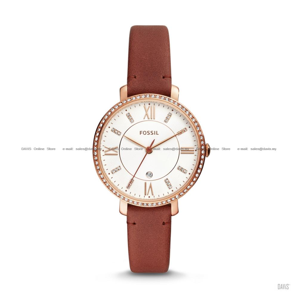 FOSSIL ES4413 Women's Jacqueline 3-hand Glitz Leather Strap Terracotta