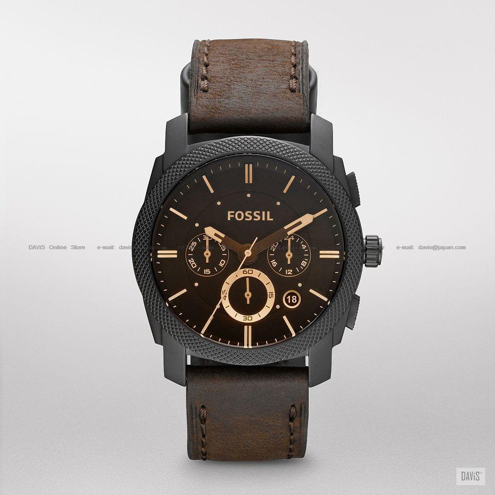 FOSSIL FS4656 Men's Machine Watch Chronograph Date Leather Strap Brown