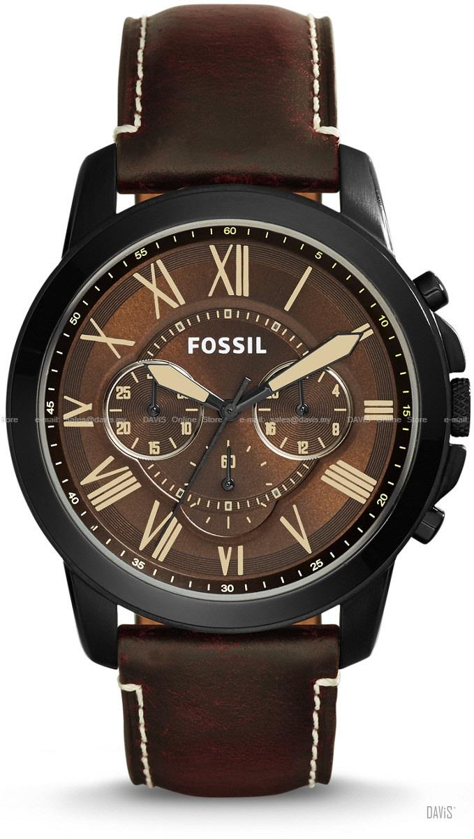 FOSSIL FS5088 Men's Grant Chronograph Leather Strap Brown