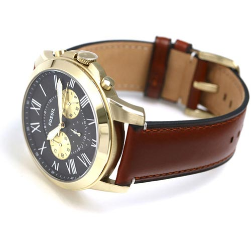 a187d5ef455da Fossil FS5297 Grant Men Chronograph Light Brown Leather Watch