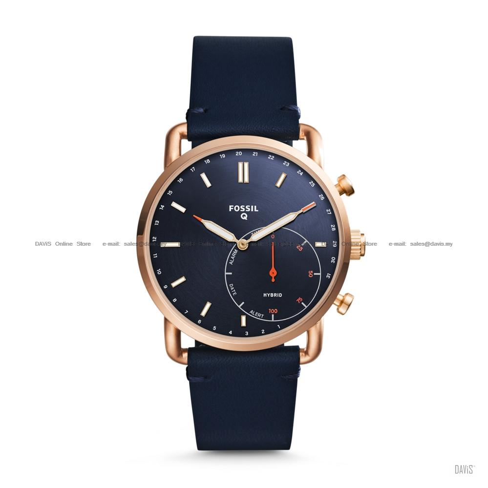 FOSSIL FTW1154 Men's Q Commuter Hybrid Smartwatch Leather Navy Blue