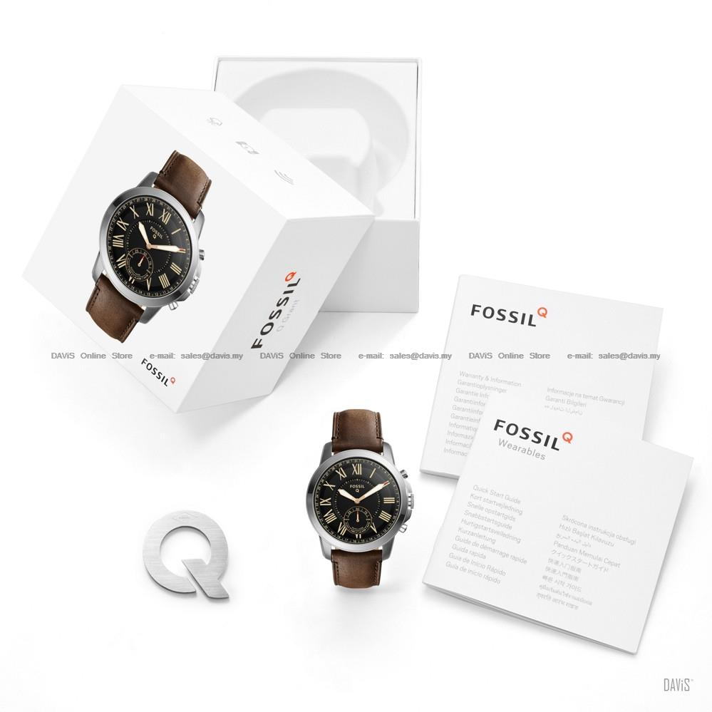 FOSSIL FTW1156 Men's Q Grant Hybrid Smartwatch Leather Strap Brown
