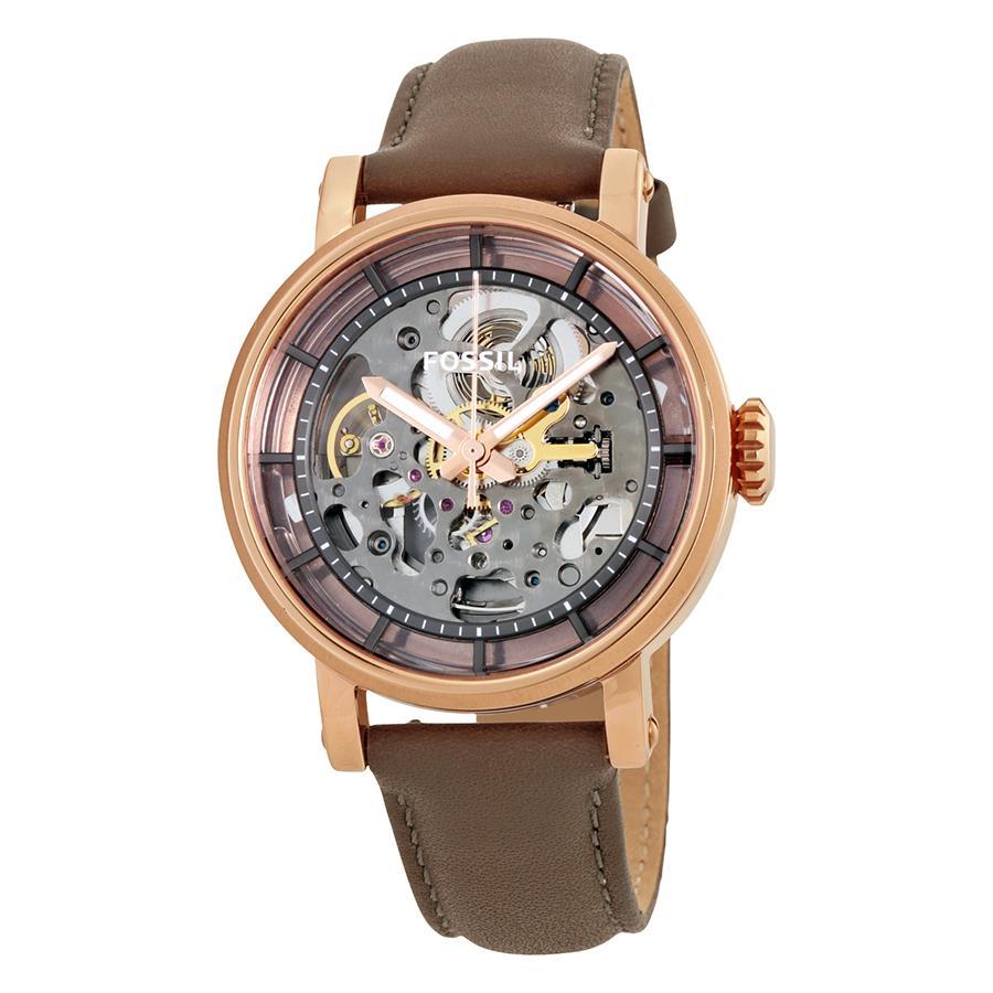 Fossil Jam Tangan Wanita Me3086 Original Boyfriend Automatic Es3908 Brown Leather Ladies Watch Me3089