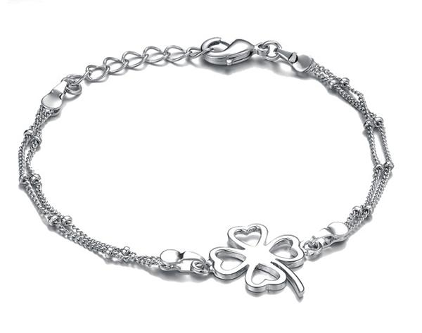Four Leaf Clover Silver Plated Bracelet Women Fashion