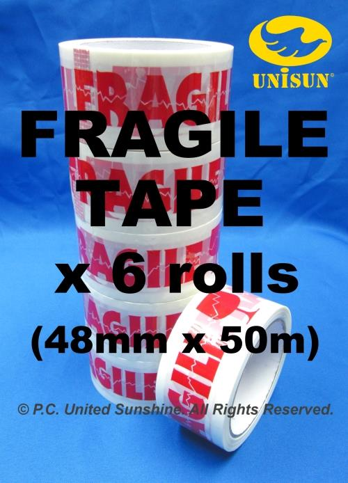FRAGILE TAPE 48mm x 50m L x 6 ROLLS Plastic OPP Packing & Packaging