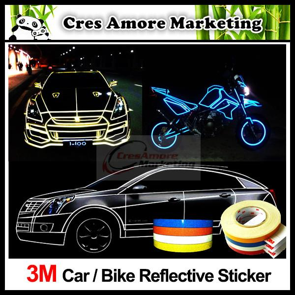 Free gift 3m car reflective sticker tape strip 5 meter fast ship