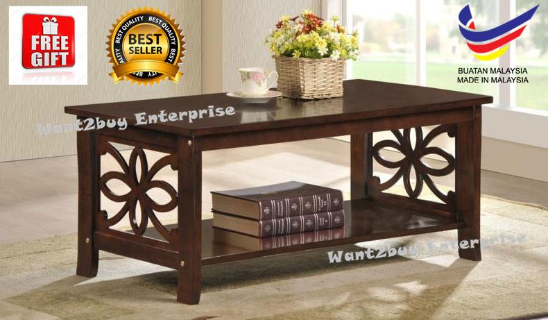 Free Gift Solid Wood Kayu Getah Kopi Coffee Table Made In Malaysia