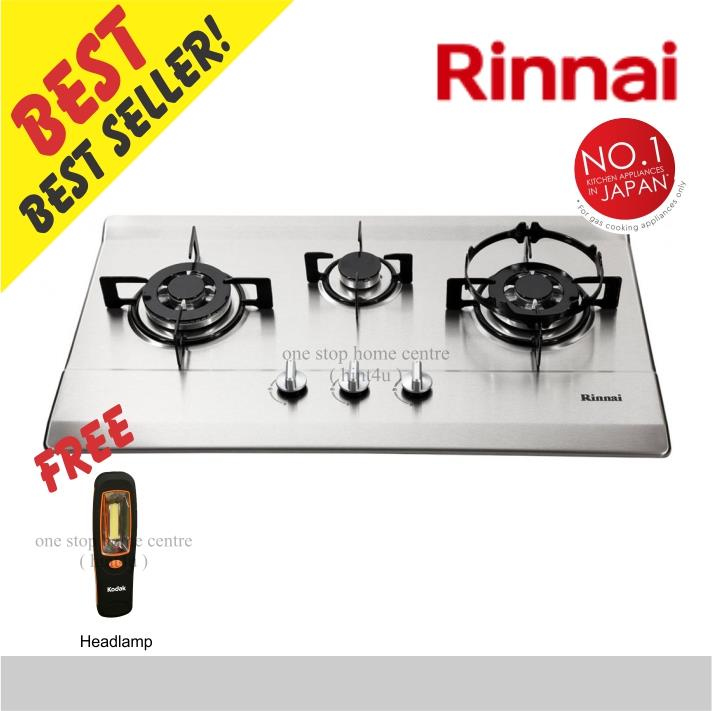 (Free Headlamp) Rinnai RB-713N-S 3-Burner Built-in Gas Hob (SS)