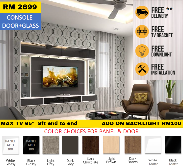[FREE INSTALL & BRACKET TV] Cabinet Tv Wall Mouted Max TV 65""