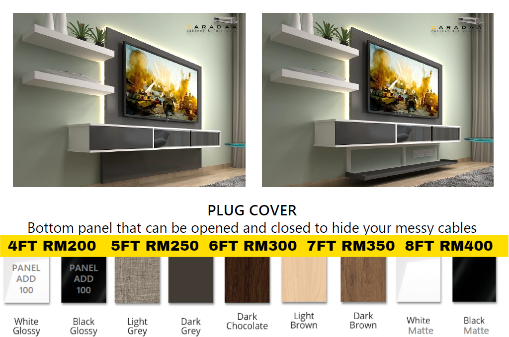 [FREE INSTALL & BRACKET TV] Cabinet Tv Wall Mouted Max TV 75""