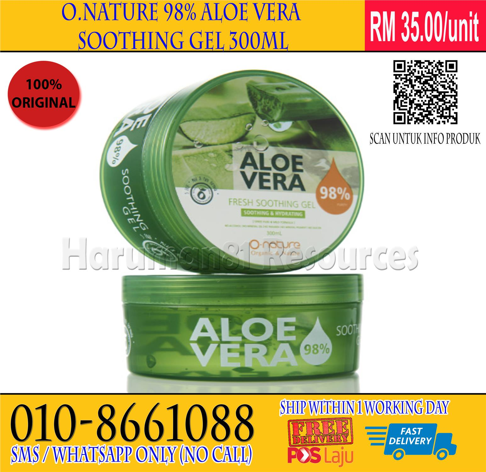 FREE POS - O. Nature 98% Aloe Vera Soothing Gel 150mL or 300mL