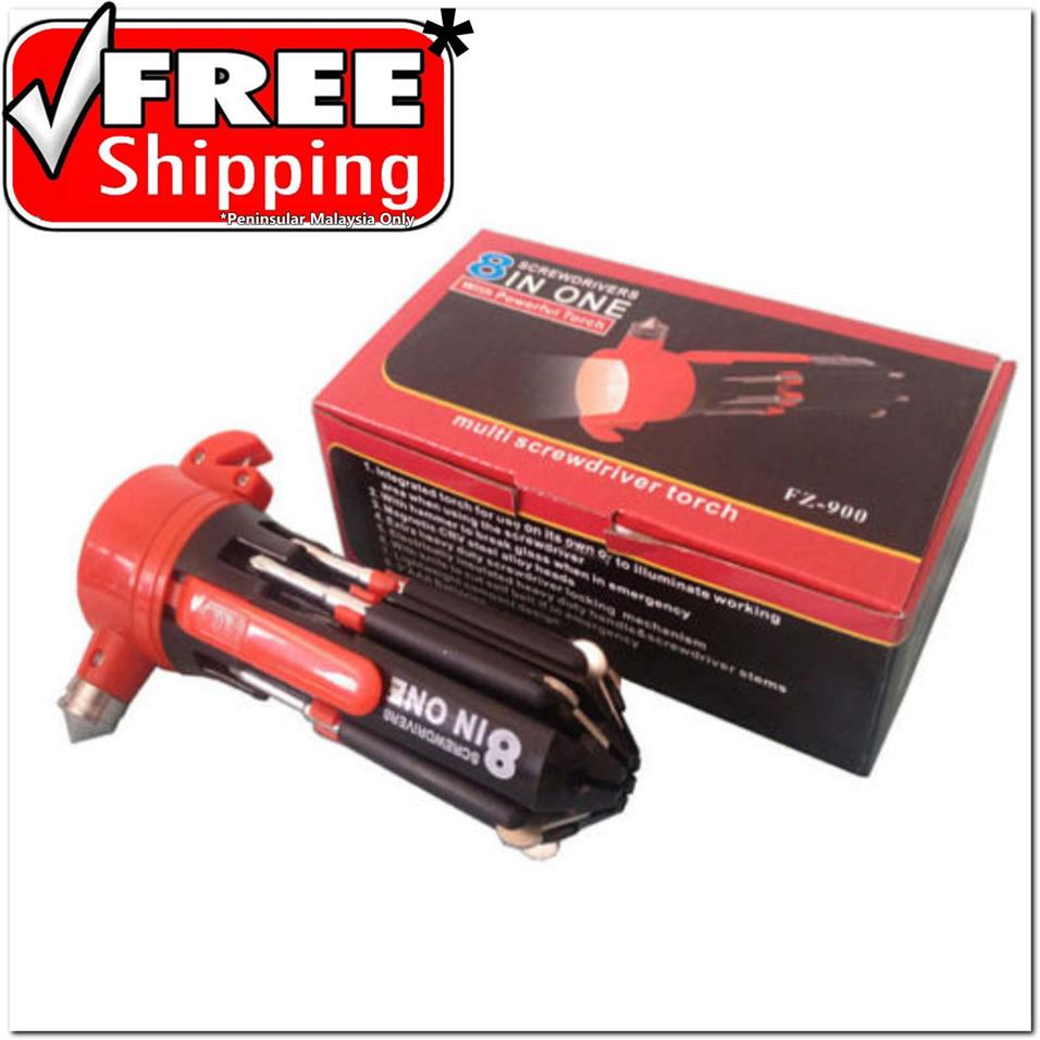 FREE SHIPPING 8in1 Multi Screwdriver + 4 LED Light Torch Powerful Torc