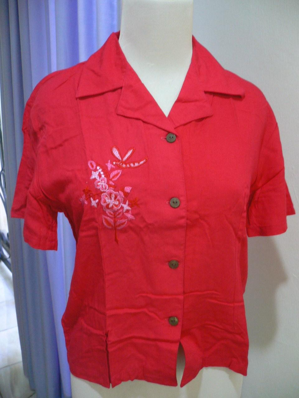 Free Shipping-'SEASON' Lady Embrose Shirt -Red