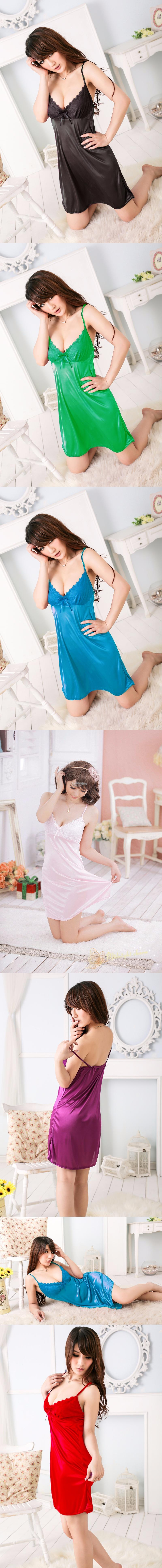 Free Shipping Summer Sexy Pajamas Ice Silk Dress Skirt Lace V-neck a3484fc73