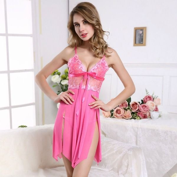 FREE SIZE POLYESTER WITH LACED TOP LINGERIE (PINK)